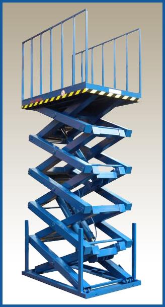 подъемный стол с пятью вертикальными парами ножниц