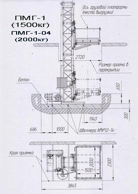 Схема - грузовой подъемник 2000 кг