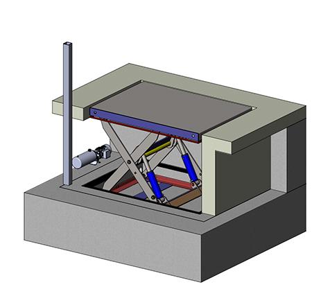Гидравлический подъемный стол для производства