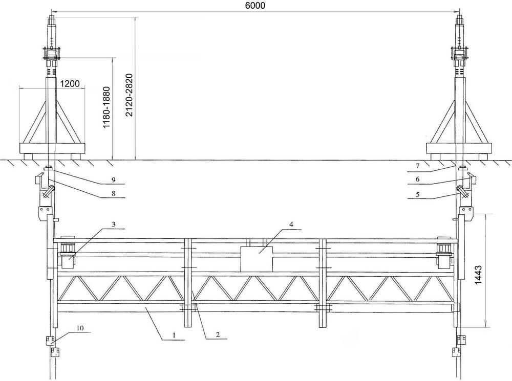 Схема строительной люльки Nordberg 630